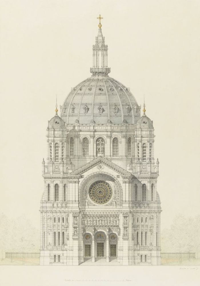 Victor Baltard - Church of Saint Augustin, Paris, elevation of the main facade.jpg